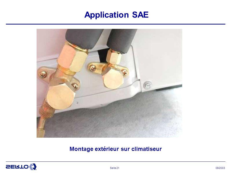 09/2003Seite 21 Application SAE Montage extérieur sur climatiseur