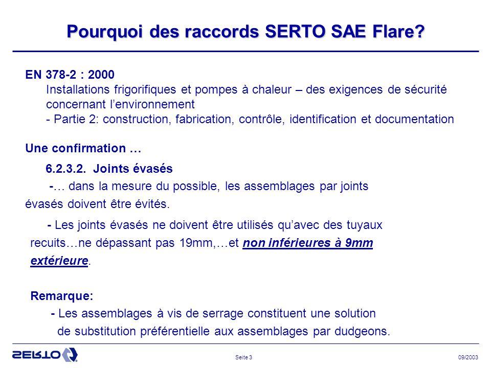 09/2003Seite 14 SERTO SO 40221 - 1/4 SAE ( ACU265) ép: 0,8 SO 40221 – 6 SAE SO 40221 - 3/8 SAE (ACU266) ép: 0,8 SO 40221 – 10 SAE SO 40221 - 1/2 SAE (ACU267) ép: 0,8 SO 40221 – 12 SAE SO 40221 - 5/8 SAE (ACU268) ép: 1 SO 40221 – 16 SAE SO 40221 - 3/4 SAE (ACU269) ép: 1 7/16 - 20 UNF 5/8 - 18 UNF 3/4 - 16 UNF 7/8 - 14 UNF 1 1/16 - 14 UNF 100 bars 64 bars 45 bars Dimension Filetage Pression de travail max.(Coef : 3 ) Palette de produits