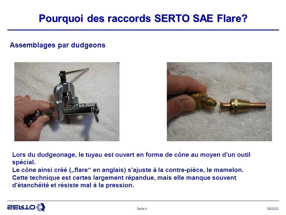 09/2003Seite 5 Test de tenue en pression du raccord SAE Le tube éclate, … le raccord tient la pression.