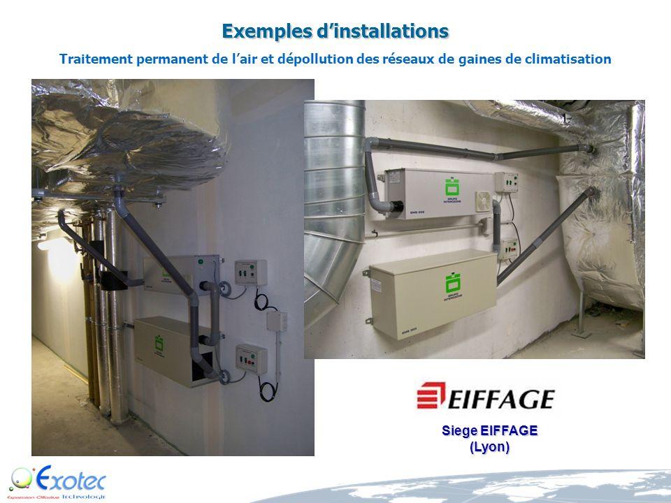 Exemples dinstallations Dépollution permanente de lair climatisé pour la prévention déventuelles infections et/ou contaminations en provenance de lair