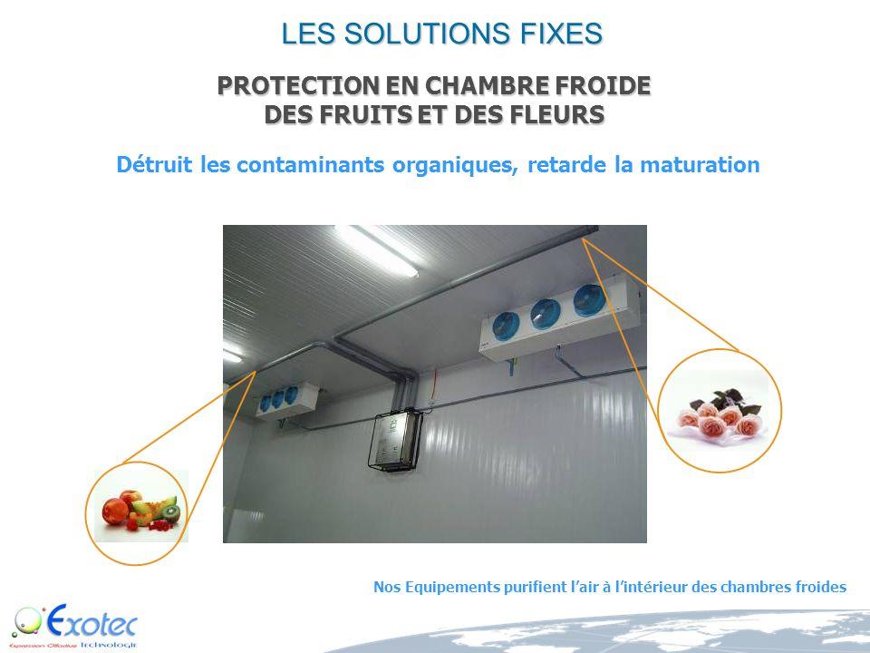Détruit les contaminants organiques, retarde la maturation Nos Equipements purifient lair à lintérieur des chambres froides PROTECTION EN CHAMBRE FROIDE DES FRUITS ET DES FLEURS LES SOLUTIONS FIXES