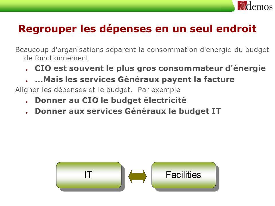 Regrouper les dépenses en un seul endroit Beaucoup d'organisations séparent la consommation d'energie du budget de fonctionnement CIO est souvent le p