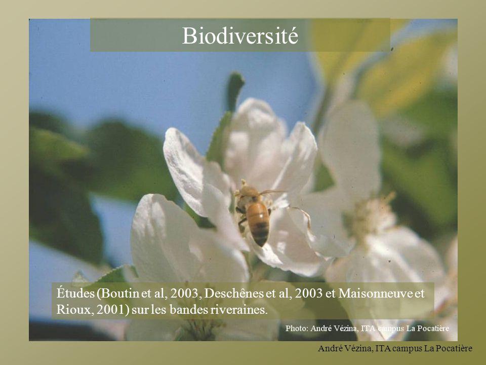 Biodiversité Études (Boutin et al, 2003, Deschênes et al, 2003 et Maisonneuve et Rioux, 2001) sur les bandes riveraines.