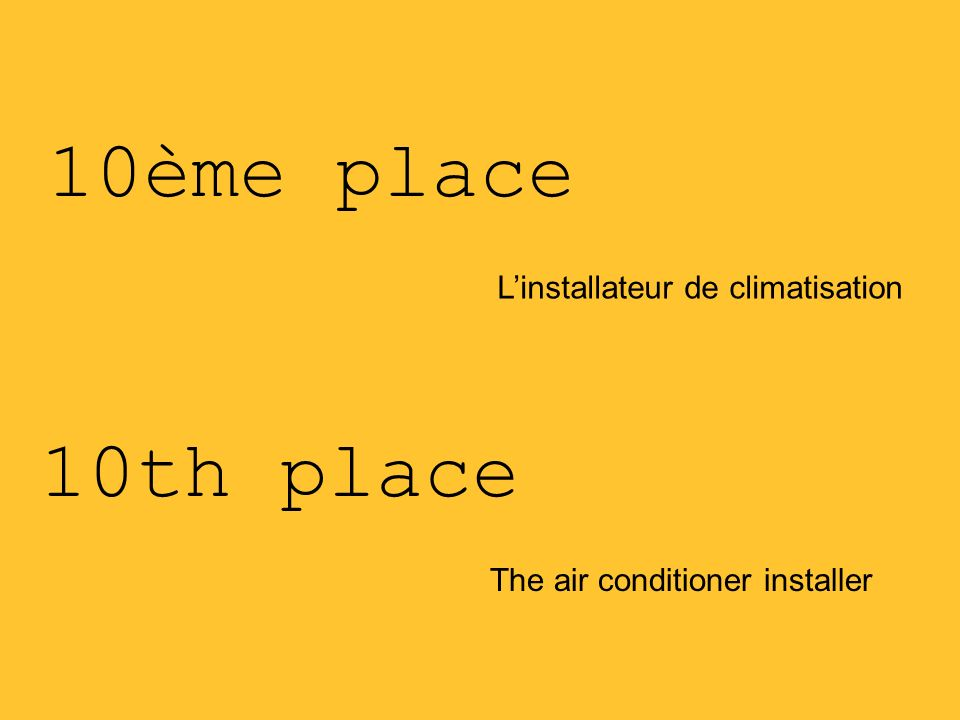 10ème place Linstallateur de climatisation The air conditioner installer 10th place