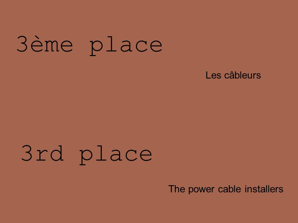 3ème place Les câbleurs 3rd place The power cable installers
