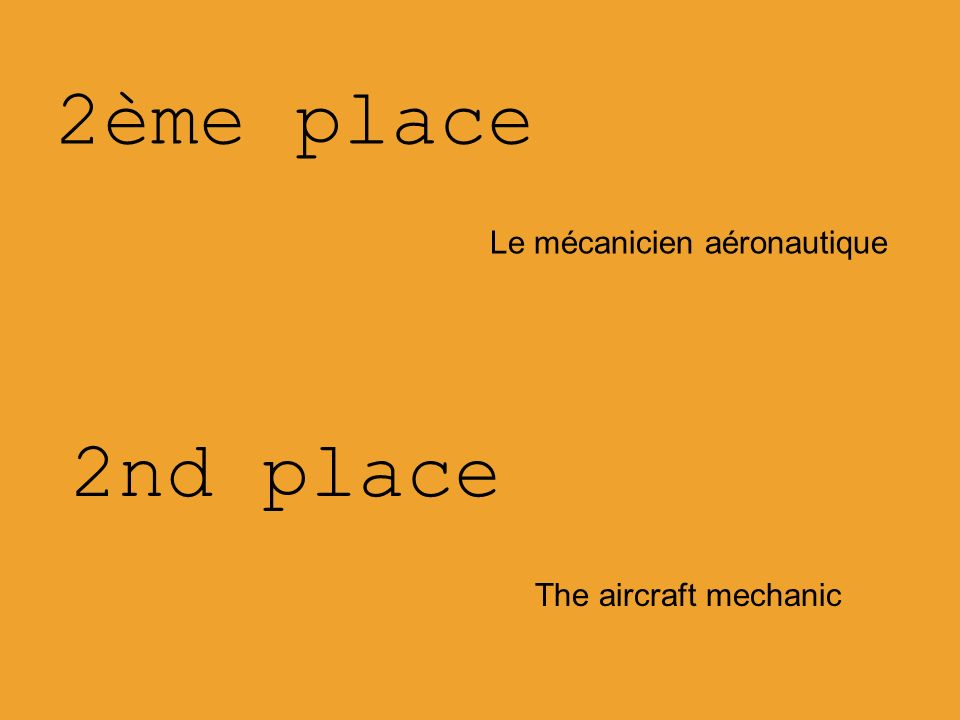 2ème place Le mécanicien aéronautique 2nd place The aircraft mechanic