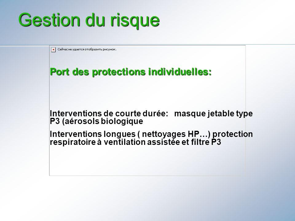 Port des protections individuelles: Interventions de courte durée: masque jetable type P3 (aérosols biologique Interventions longues ( nettoyages HP…)
