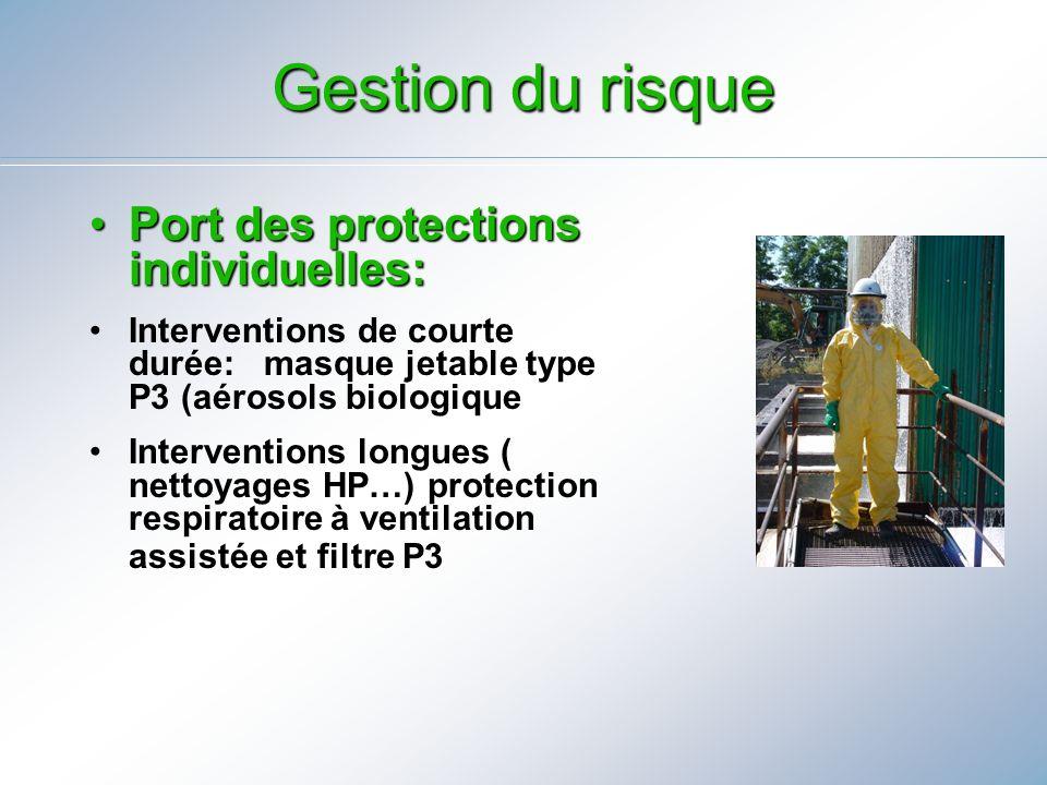 Port des protections individuelles:Port des protections individuelles: Interventions de courte durée: masque jetable type P3 (aérosols biologique Inte