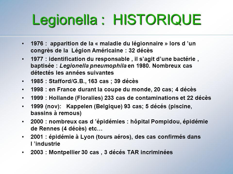 Legionella : HISTORIQUE 1976 : apparition de la « maladie du légionnaire » lors d un congrès de la Légion Américaine : 32 décès 1977 : identification