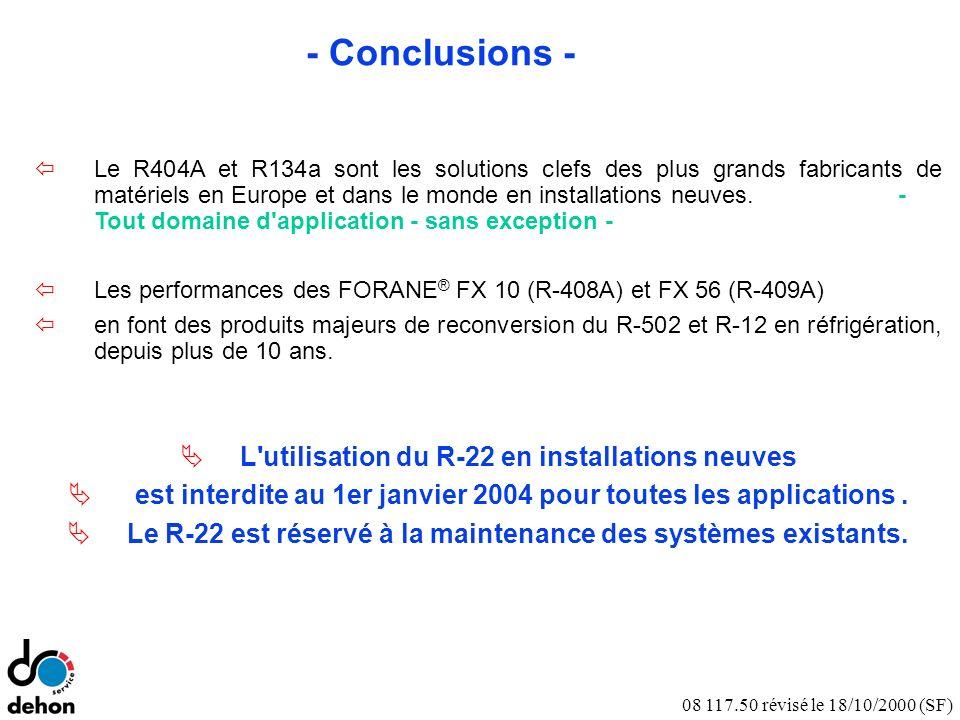 08 117.50 révisé le 18/10/2000 (SF) - Conclusions - Le R404A et R134a sont les solutions clefs des plus grands fabricants de matériels en Europe et dans le monde en installations neuves.