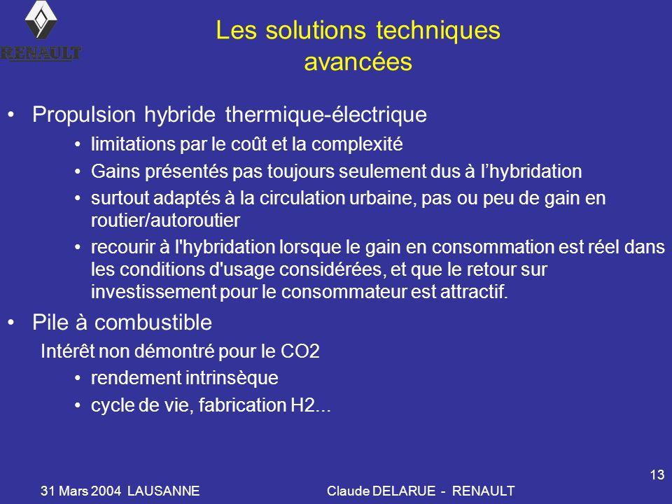 31 Mars 2004 LAUSANNEClaude DELARUE - RENAULT 13 Les solutions techniques avancées Propulsion hybride thermique-électrique limitations par le coût et