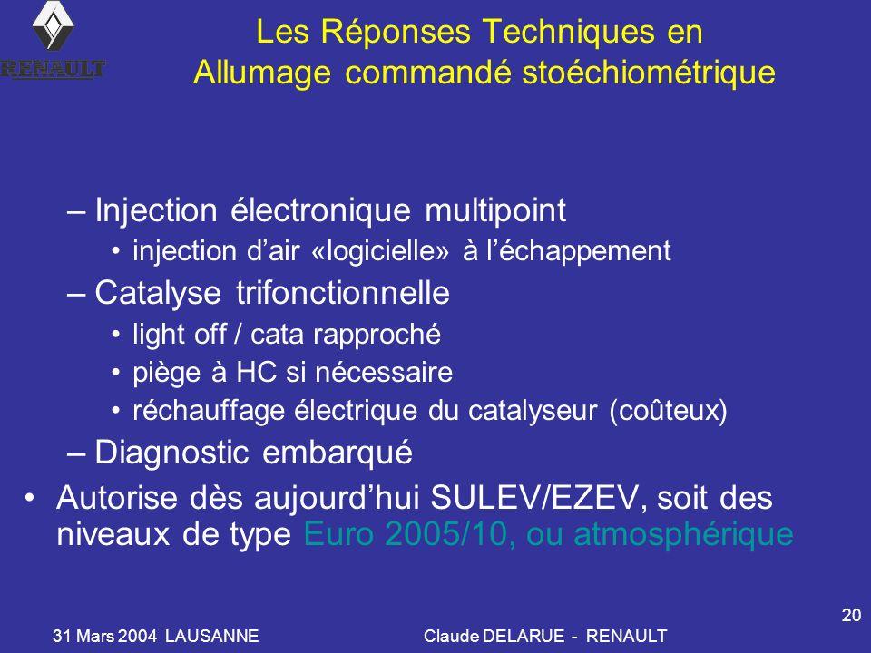 31 Mars 2004 LAUSANNEClaude DELARUE - RENAULT 20 Les Réponses Techniques en Allumage commandé stoéchiométrique –Injection électronique multipoint inje