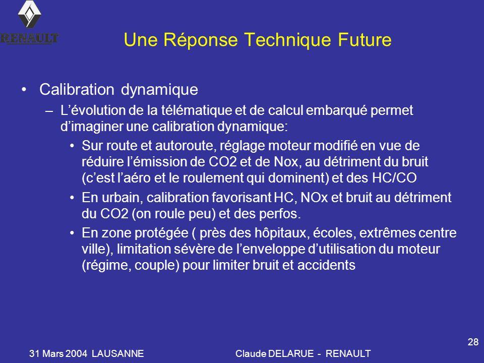 31 Mars 2004 LAUSANNEClaude DELARUE - RENAULT 28 Une Réponse Technique Future Calibration dynamique –Lévolution de la télématique et de calcul embarqu