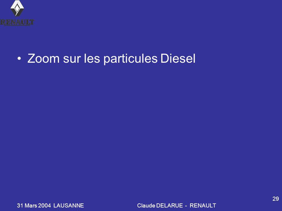31 Mars 2004 LAUSANNEClaude DELARUE - RENAULT 29 Zoom sur les particules Diesel