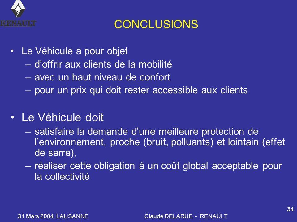 31 Mars 2004 LAUSANNEClaude DELARUE - RENAULT 34 CONCLUSIONS Le Véhicule a pour objet –doffrir aux clients de la mobilité –avec un haut niveau de conf