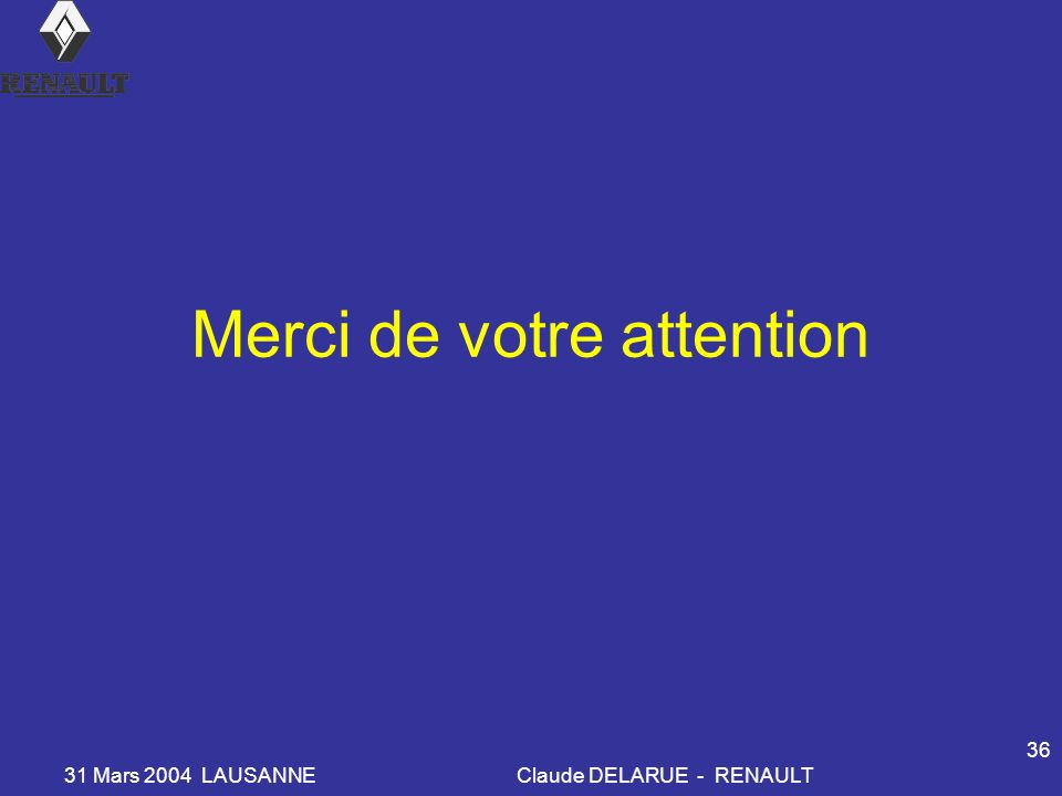 31 Mars 2004 LAUSANNEClaude DELARUE - RENAULT 36 Merci de votre attention