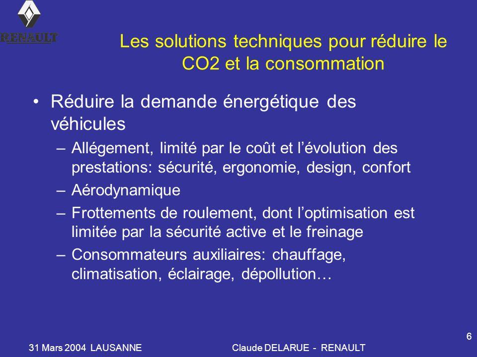 31 Mars 2004 LAUSANNEClaude DELARUE - RENAULT 6 Les solutions techniques pour réduire le CO2 et la consommation Réduire la demande énergétique des véh