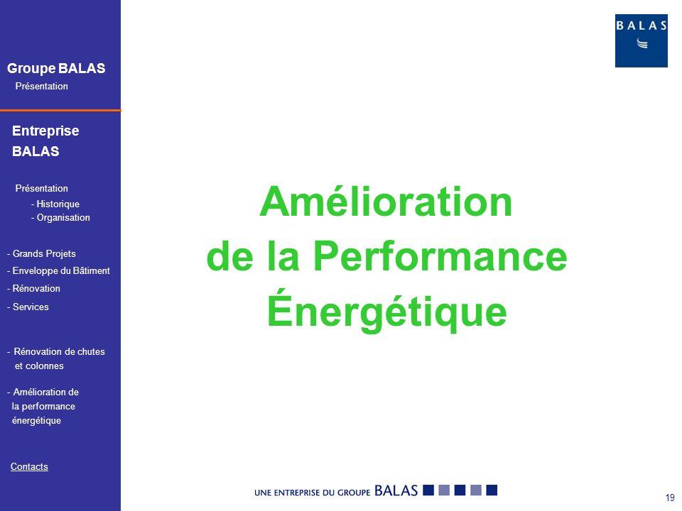 Présentation Groupe BALAS Entreprise BALAS Présentation - Services Contacts - Historique - Organisation - Grands Projets - Enveloppe du Bâtiment - Rénovation - Amélioration de Amélioration de la performance énergétique -Rénovation de chutesRénovation de chutes et colonnes 20 Phase 1 : Analyse de lexistant sur les aspects passifs (enveloppe) et actifs (énergies et fluides).