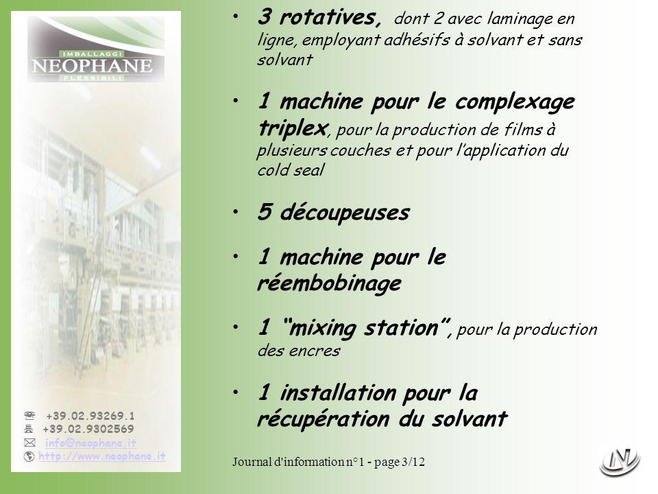 Journal d'information n°1 - page 3/12 +39.02.93269.1 +39.02.9302569 info@neophane.it http://www.neophane.it 3 rotatives, dont 2 avec laminage en ligne