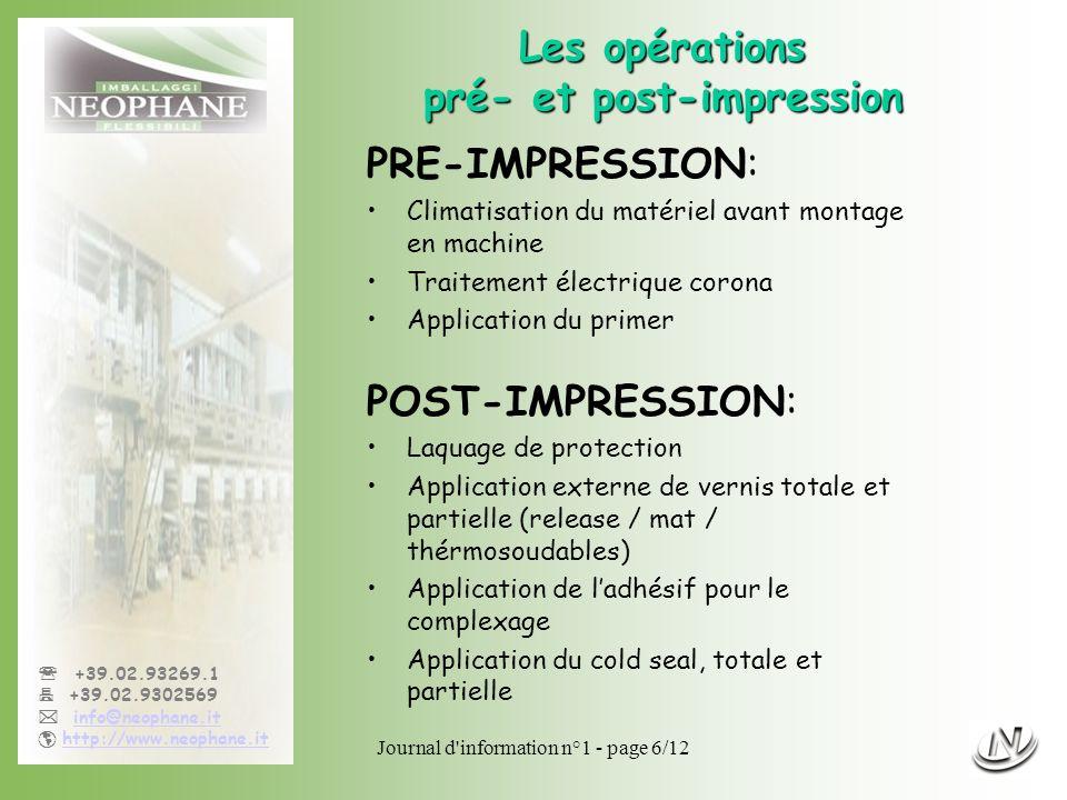 Journal d'information n°1 - page 6/12 +39.02.93269.1 +39.02.9302569 info@neophane.it http://www.neophane.it Les opérations pré- et post-impression PRE