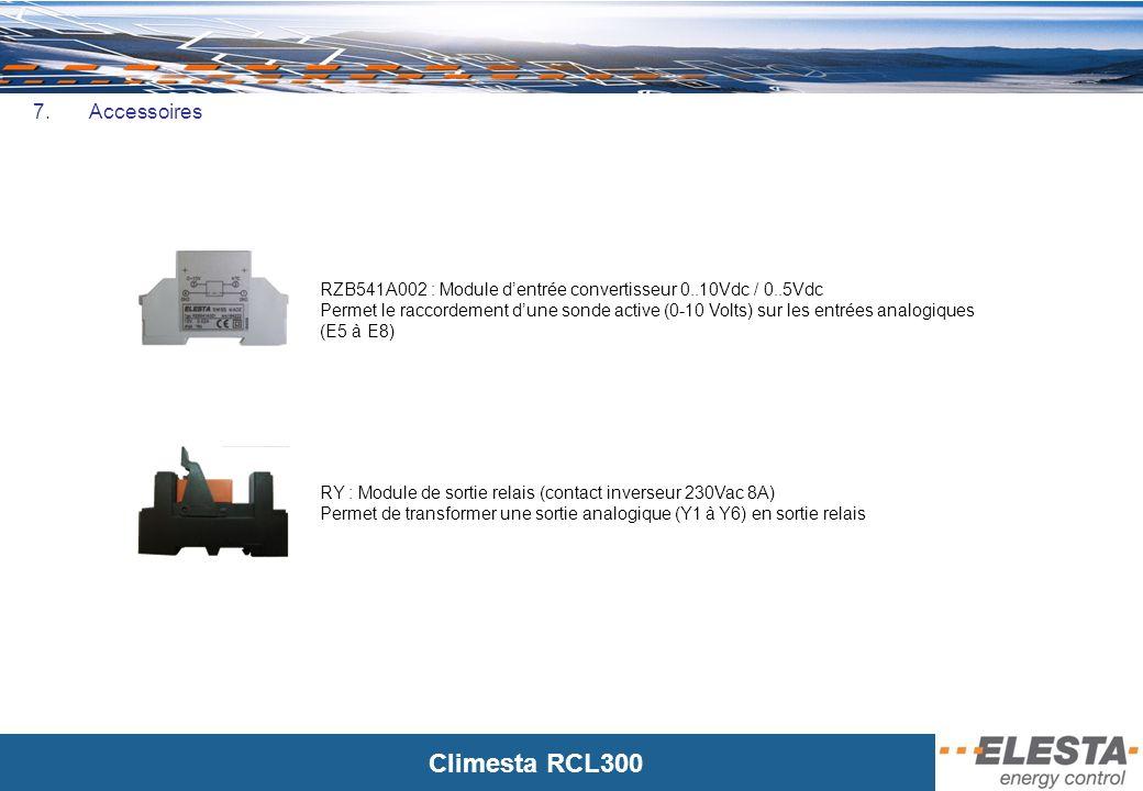 Climesta RCL300 7. Accessoires RZB541A002 : Module dentrée convertisseur 0..10Vdc / 0..5Vdc Permet le raccordement dune sonde active (0-10 Volts) sur