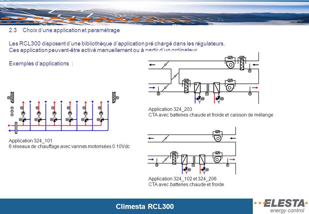 Climesta RCL300 2.4 Extension du programme de lapplication Après avoir chargé une application, suivant les entrées/sorties disponibles sur lautomate, il est possibilité dajouter des fonctions de régulation ou dautomatisme.