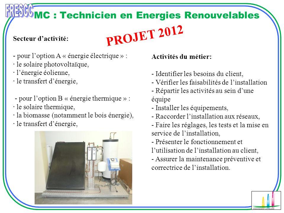 MC : Technicien en Energies Renouvelables Secteur dactivité: - pour loption A « énergie électrique » : · le solaire photovoltaïque, · lénergie éolienn