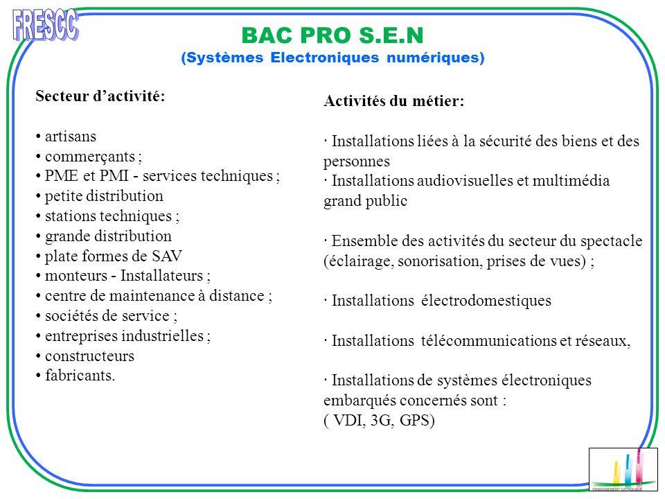 BAC PRO S.E.N (Systèmes Electroniques numériques) Secteur dactivité: artisans commerçants ; PME et PMI - services techniques ; petite distribution sta