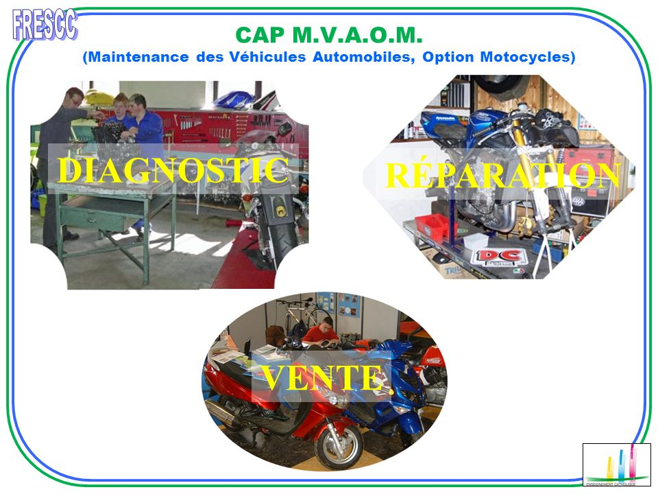 CAP M.V.A.O.M. (Maintenance des Véhicules Automobiles, Option Motocycles) DIAGNOSTIC VENTE RÉPARATION