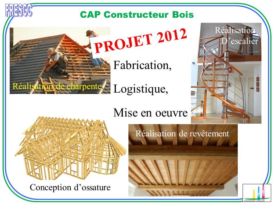CAP Constructeur Bois Réalisation de revêtement Réalisation Descalier PROJET 2012 Exercice du métier: Secteur de la charpente Secteur de la construction bois.