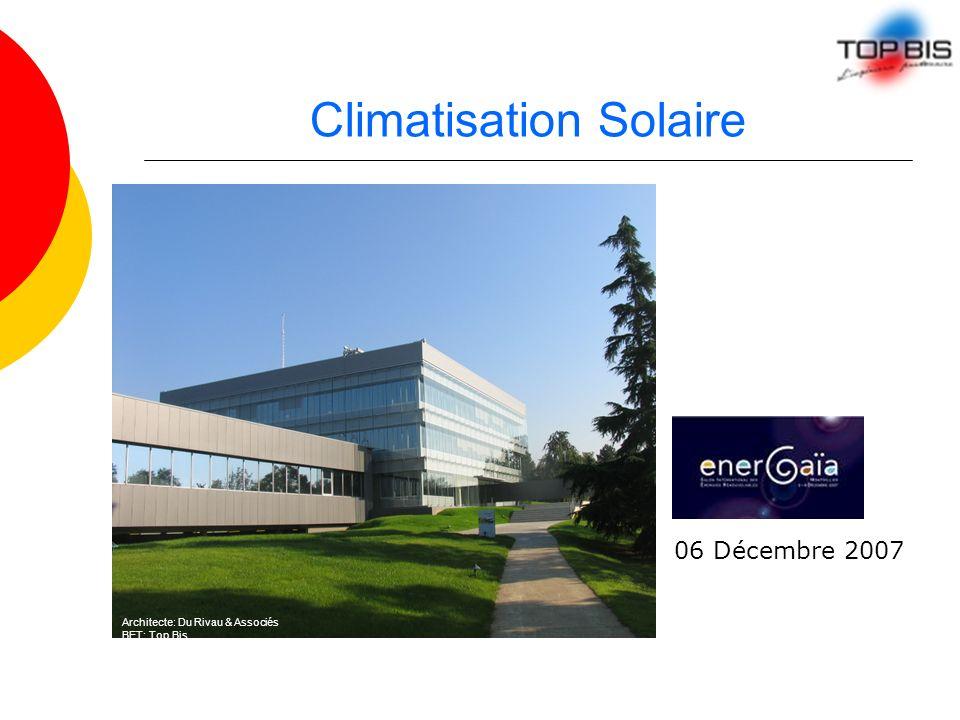 Climatisation Solaire 06 Décembre 2007 Architecte: Du Rivau & Associés BET: Top Bis
