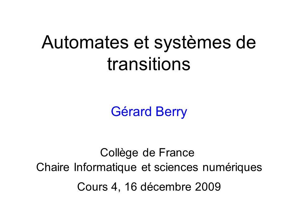 1.Systèmes détats finis 2.Expressions régulières 3.Dérivées et traduction en automates 4.Algorithme de Berry-Sethi 5.Déterminisation et minimisation 6.Des automates aux circuits Booléens 7.Suites automatiques et nombres transcendants 16/12/2009 32G.