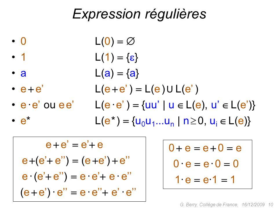 16/12/2009 10G. Berry, Collège de France, Expression régulières 0 L(0) 1 L(1) { } aL(a) {a} e eL(e e ) L(e ) U L(e ) e · e ou e eL(e · e ) {uu | u L(e