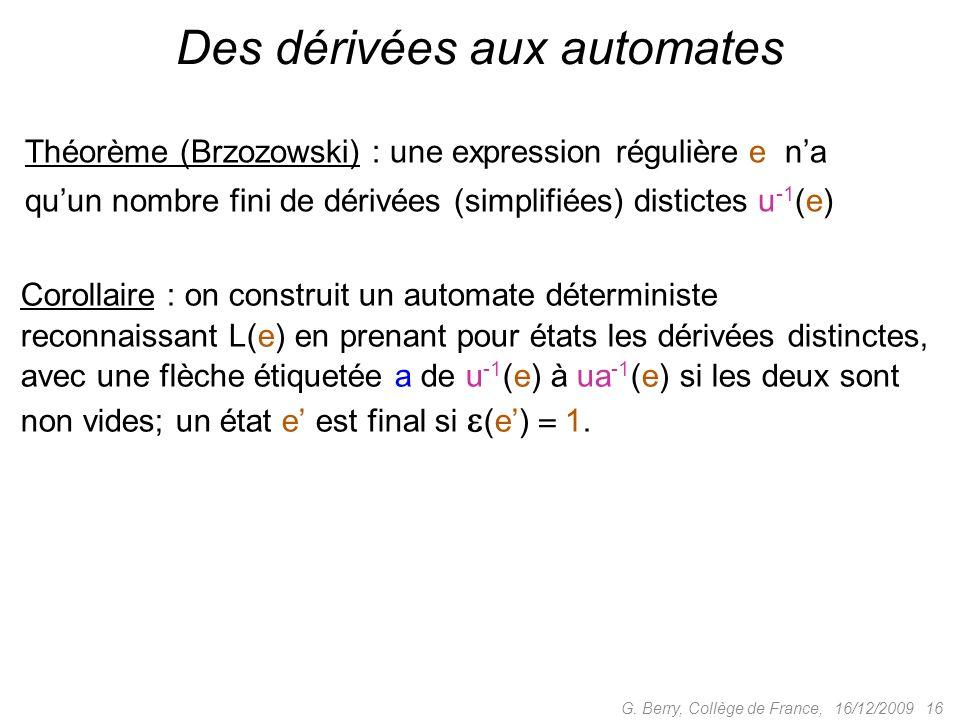 16/12/2009 16G. Berry, Collège de France, Des dérivées aux automates Théorème (Brzozowski) : une expression régulière e na quun nombre fini de dérivée
