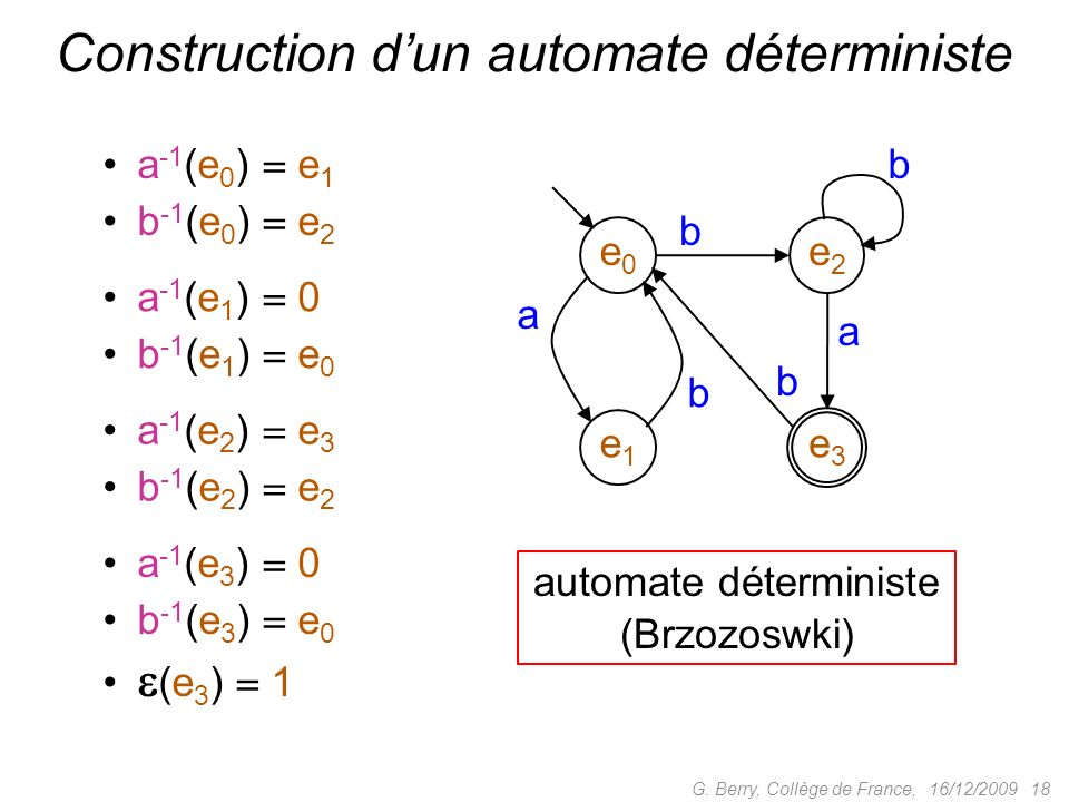a -1 (e 0 ) e 1 b -1 (e 0 ) e 2 16/12/2009 18 Construction dun automate déterministe a -1 (e 1 ) 0 b -1 (e 1 ) e 0 a -1 (e 2 ) e 3 b -1 (e 2 ) e 2 a -
