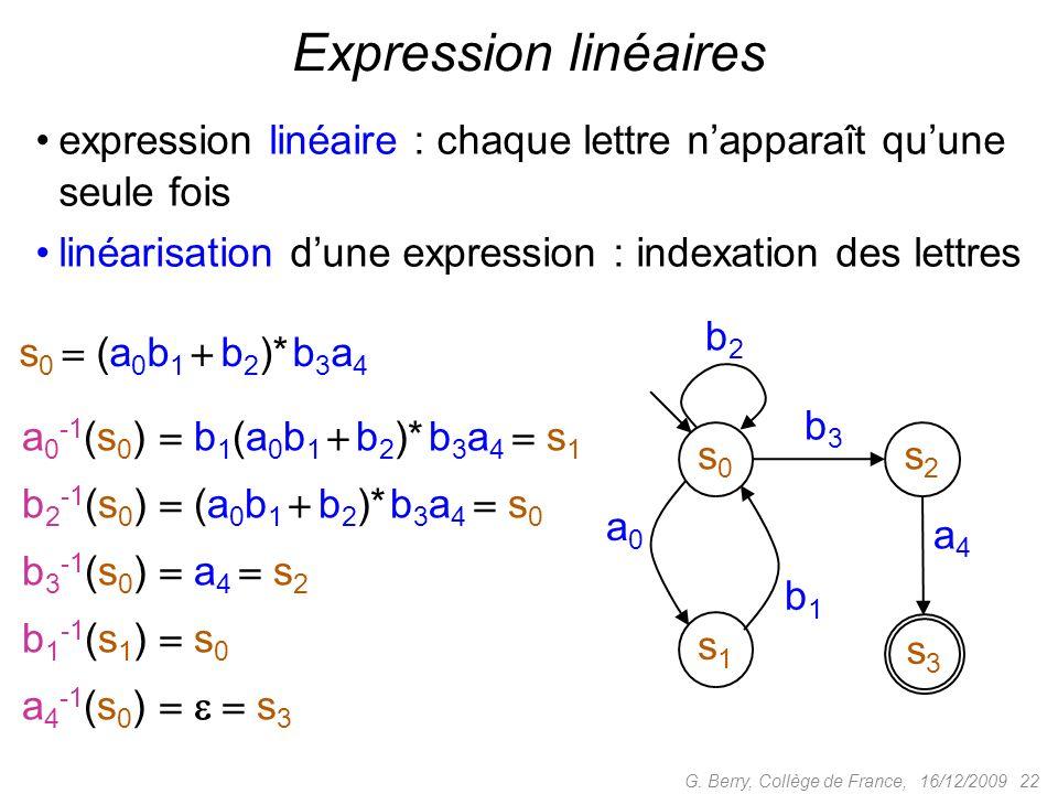 expression linéaire : chaque lettre napparaît quune seule fois linéarisation dune expression : indexation des lettres 16/12/2009 22G. Berry, Collège d