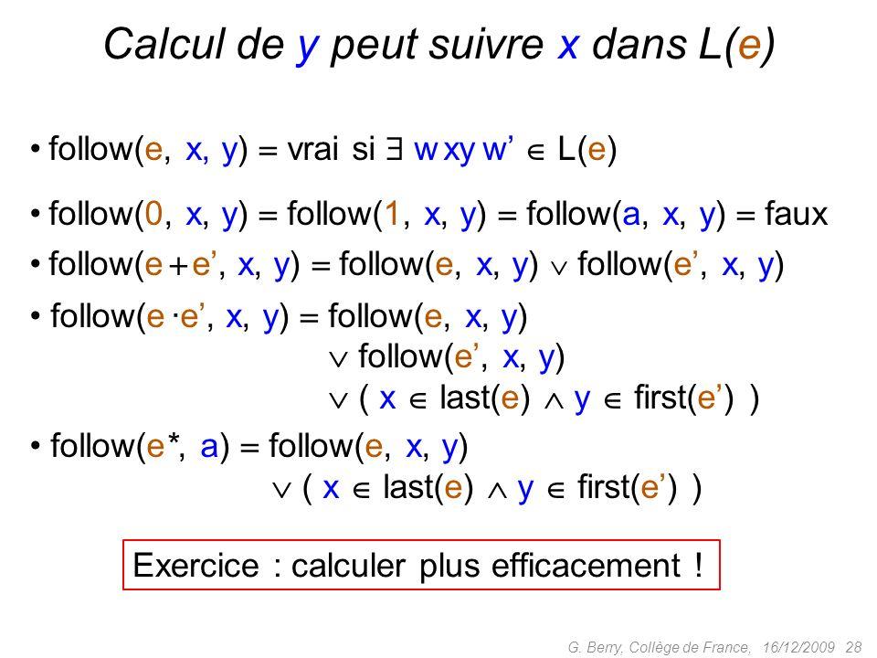 16/12/2009 28G. Berry, Collège de France, Calcul de y peut suivre x dans L(e) follow(e, x, y) vrai si w xy w L(e) follow(0, x, y) follow(1, x, y) foll