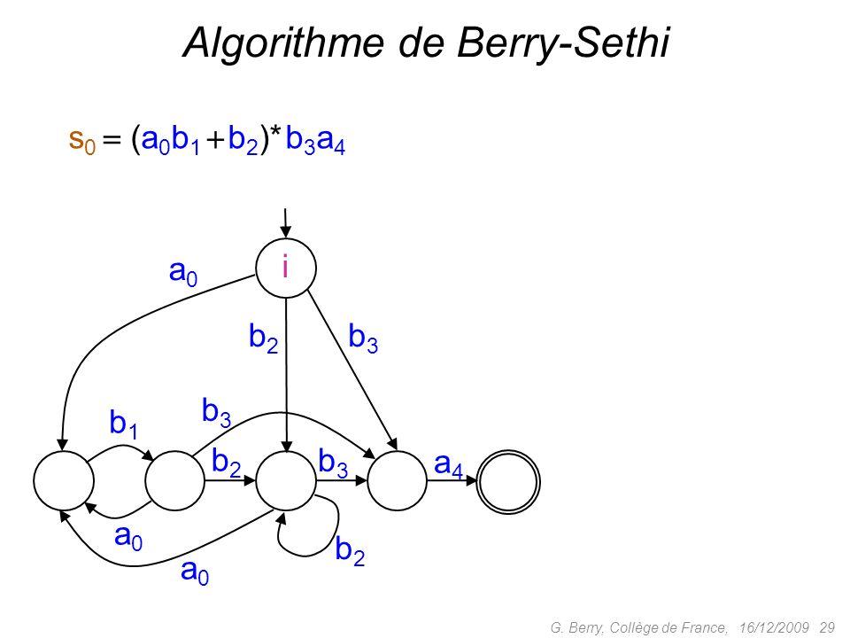 16/12/2009 29G. Berry, Collège de France, Algorithme de Berry-Sethi i s 0 (a 0 b 1 b 2 )* b 3 a 4 b2b2 a0a0 a0a0 b1b1 b3b3 b3b3 b2b2 a4a4 a0a0 b2b2 b3