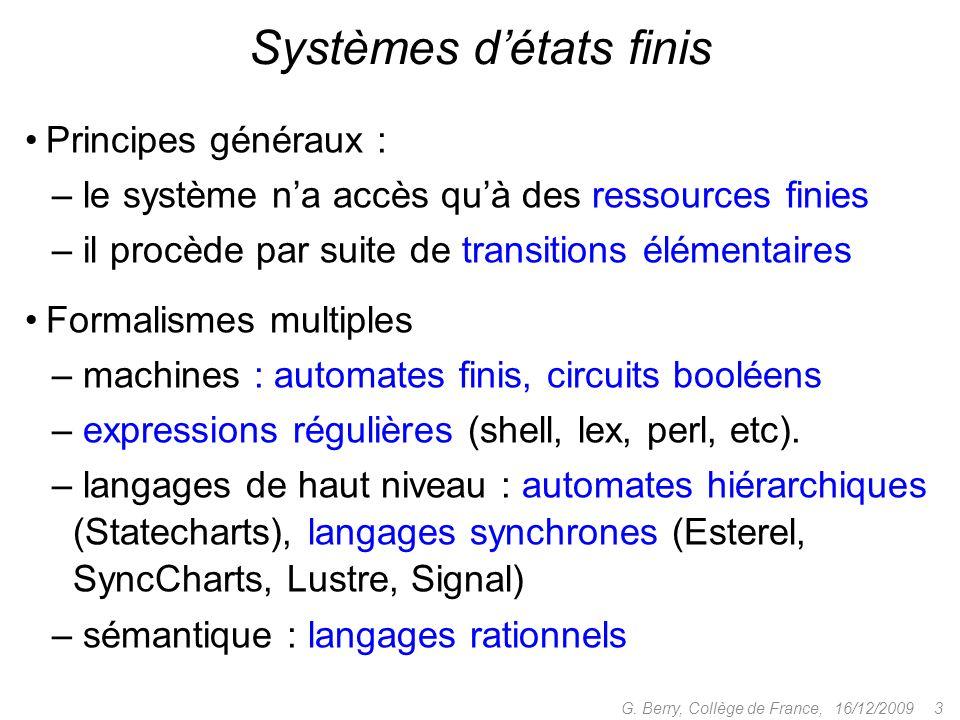 Principes généraux : – le système na accès quà des ressources finies – il procède par suite de transitions élémentaires 16/12/2009 3G. Berry, Collège
