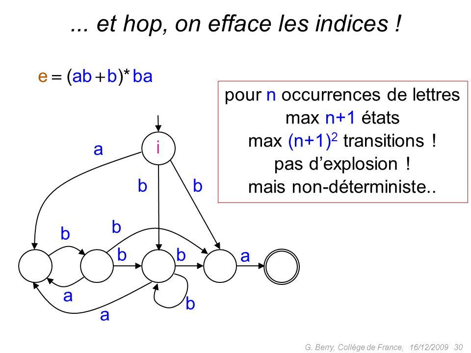 16/12/2009 30G. Berry, Collège de France, e (ab b)* ba b a a b b a a bb i b b... et hop, on efface les indices ! pour n occurrences de lettres max n+1