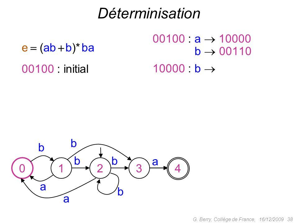 16/12/2009 38G. Berry, Collège de France, Déterminisation b a a b b a 01234 00100 : initial 00100 : a 10000 0000 : b 00110 b b 10000 : b e (ab b)* ba