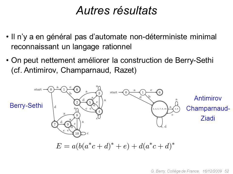 16/12/2009 52G. Berry, Collège de France, Autres résultats Il ny a en général pas dautomate non-déterministe minimal reconnaissant un langage rationne