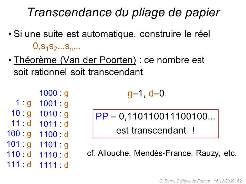 Si une suite est automatique, construire le réel 0,s 1 s 2...s n... Théorème (Van der Poorten) : ce nombre est soit rationnel soit transcendant 16/12/