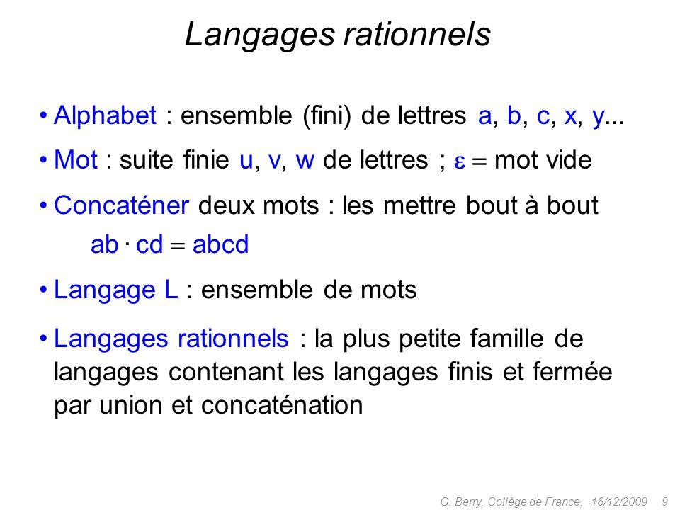 Langages rationnels : la plus petite famille de langages contenant les langages finis et fermée par union et concaténation 16/12/2009 9G. Berry, Collè