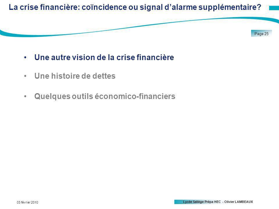Lycée Saliège Prépa HEC - Olivier LAMBEAUX Page 25 03 février 2010 La crise financière: coïncidence ou signal dalarme supplémentaire.