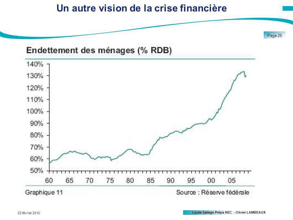 Lycée Saliège Prépa HEC - Olivier LAMBEAUX Page 26 03 février 2010 Un autre vision de la crise financière