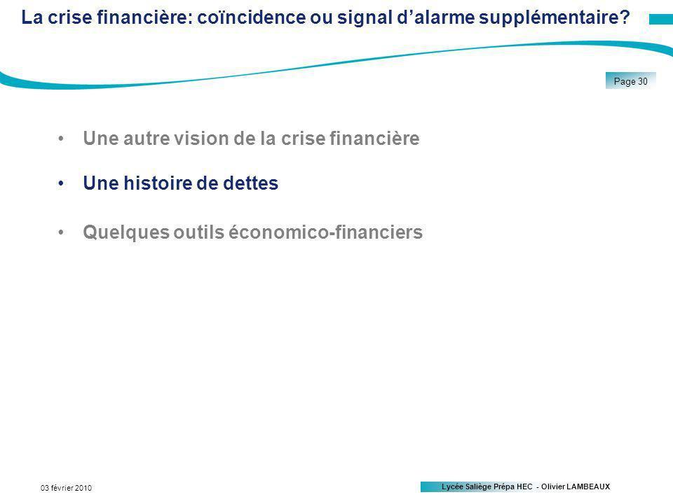 Lycée Saliège Prépa HEC - Olivier LAMBEAUX Page 30 03 février 2010 La crise financière: coïncidence ou signal dalarme supplémentaire.