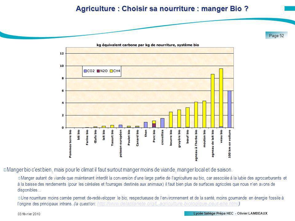 Lycée Saliège Prépa HEC - Olivier LAMBEAUX Page 52 03 février 2010 Agriculture : Choisir sa nourriture : manger Bio .