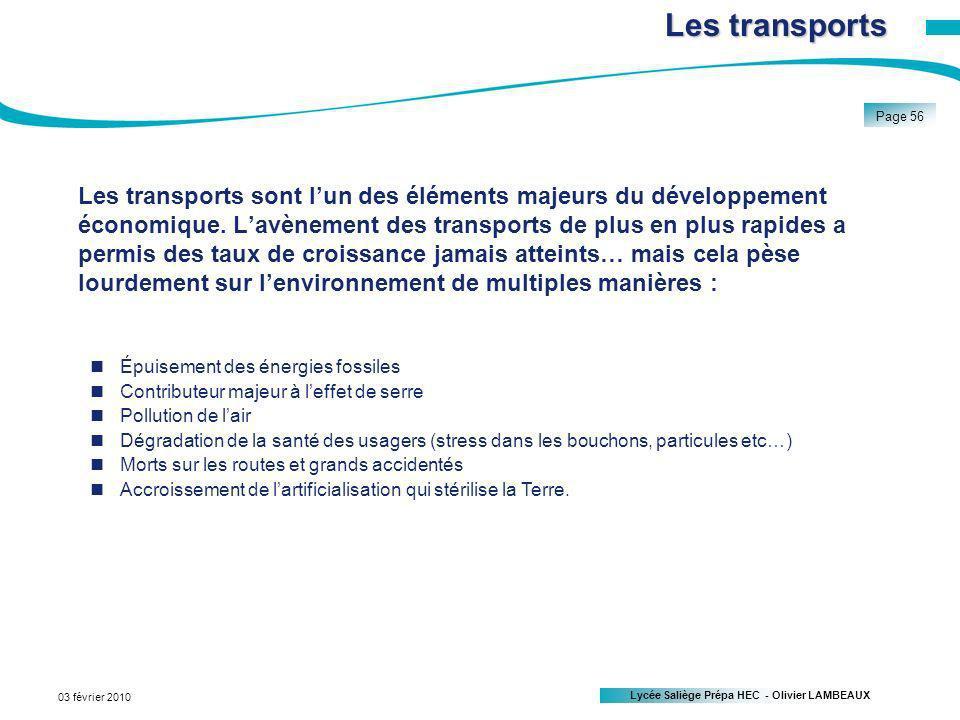 Lycée Saliège Prépa HEC - Olivier LAMBEAUX Page 56 03 février 2010 Les transports sont lun des éléments majeurs du développement économique.