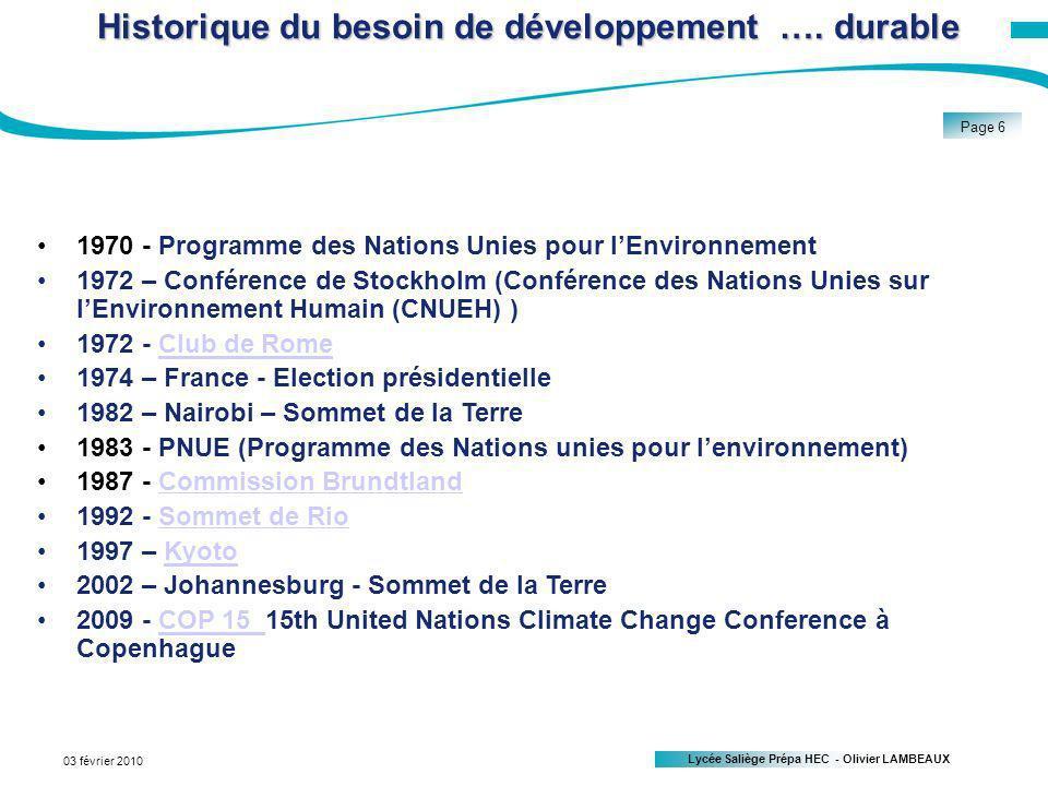 Lycée Saliège Prépa HEC - Olivier LAMBEAUX Page 6 03 février 2010 Historique du besoin de développement ….